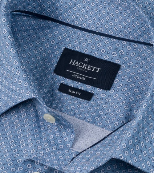 Hackett London Camisa Avio Geo Print cuello